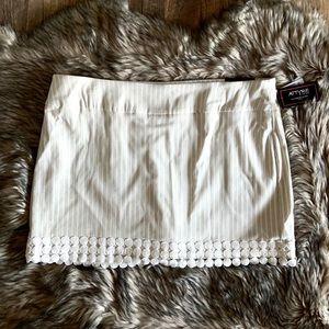 Attyre Plus Sz Katherine Striped Embroidered Skort